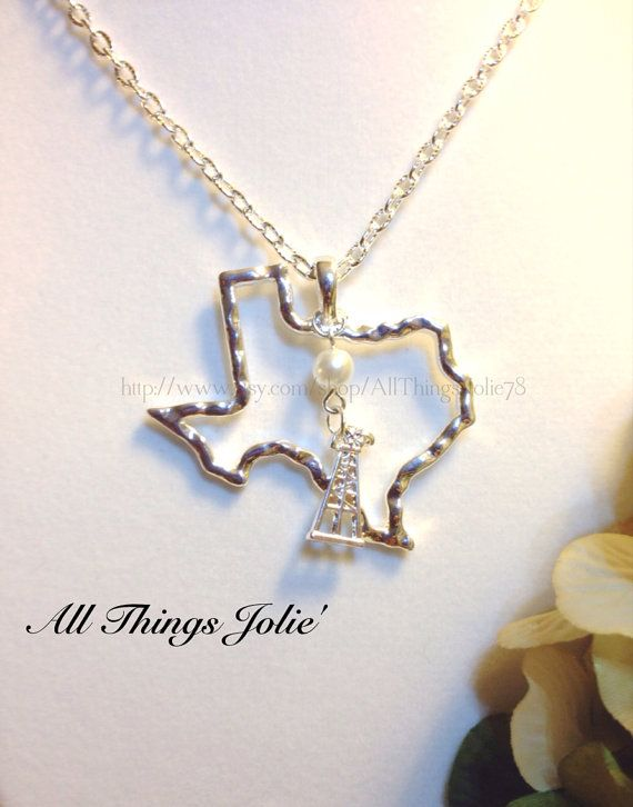 Texas State Oil Rig Hammered Silver Necklace by AllThingsJolie78