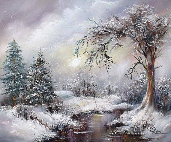 Winter After Storm . Original oil painting on stretched canvas, 10x12 inch, snow scene, winter landscape
