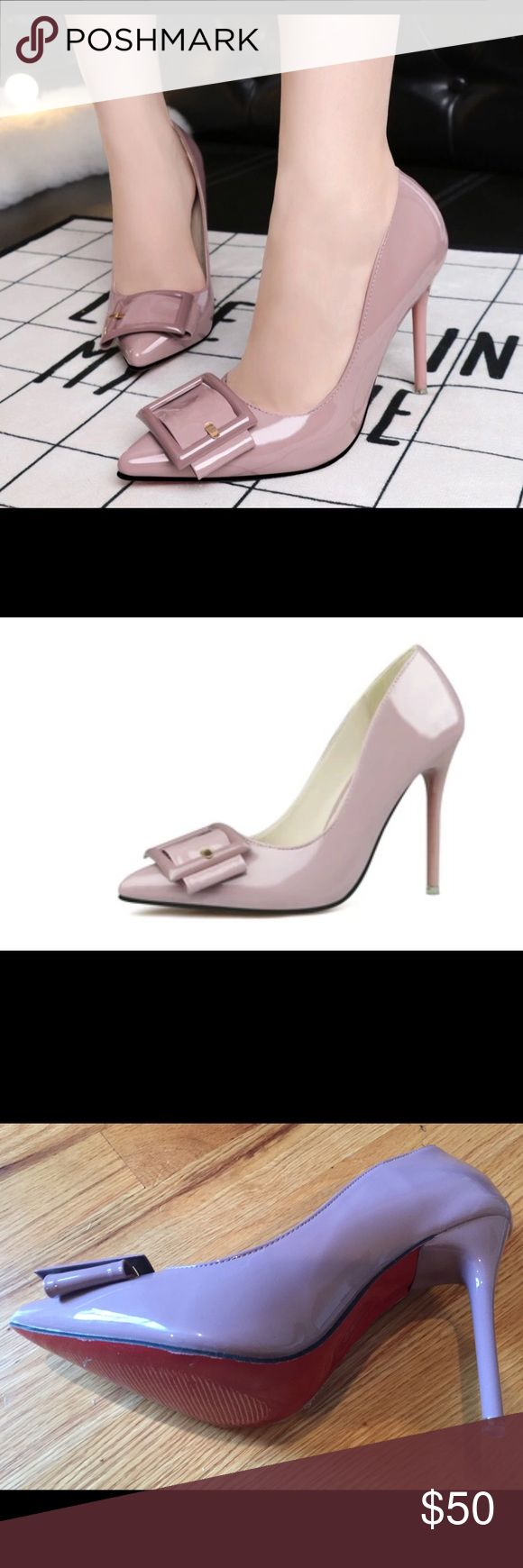 """Mauve Pale Lavender Patent Buckle High Heels-NEW Gorgeous patent mauve heels with red soles. (Soles have protective plastic on them.) From a boutique in NYC, new in box. Popular current style. 4"""" Heel, European size 39, which for this pump best fits an 8. The width is M. These are gorgeous, bought them for me, but I'm a true 8.5, and high heels like this can't be too small Shoes Heels"""