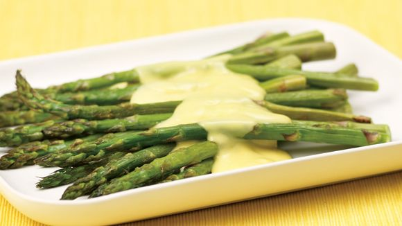 Roasted Asparagus with Hollandaise Sauce #recipe.