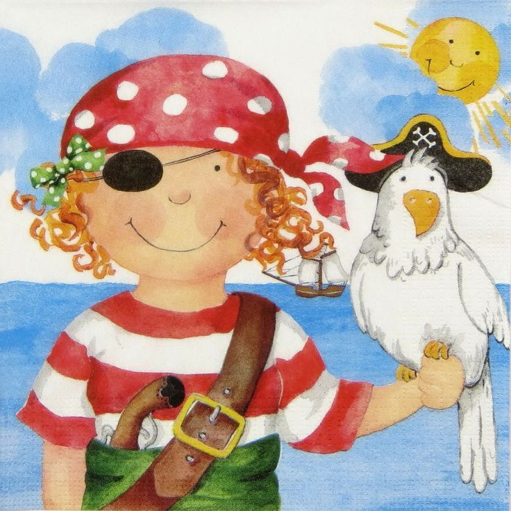 4x Single Lunch Party Paper Napkins for Decoupage Decopatch Craft Pirate Girl
