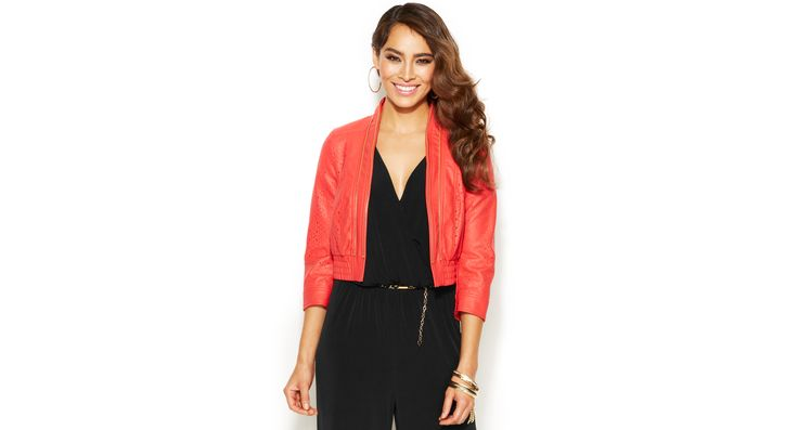 Thalia Sodi Laser-Cut Faux-Leather Bomber Jacket