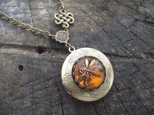 Celtic Knot Dragonfly in Amber Diana Gabaldon Outlander Series Locket Necklace