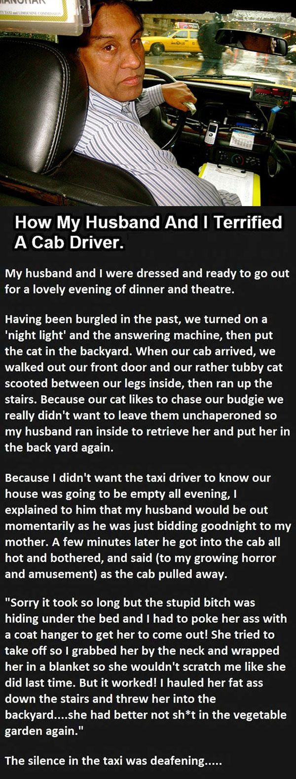 When my husband joined in the cab, this happened...