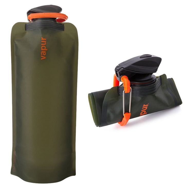 Vapur Eclipse Collapsible Water Bottles are great flexible canteens. When you're out hiking, camping, and exploring the great outdoors, an empty stainless steel or plastic water bottle takes up valuable space, but this unique one can be folded, rolled up, or simply flattened when empty. They're constructed from durable yet soft 3-ply BPA-free polyethylene and nylon that is both freezable and dishwasher safe and topped with an easy open drinking cap that includes an attached carabiner.