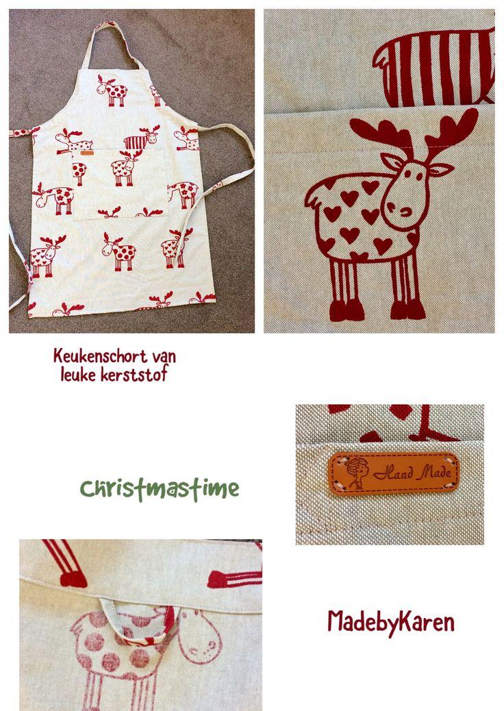 Leuke keukenschort genaaid. Stof: Rudolph The red nosed reindeer. Leuk cadeau erbij voor de kerst!