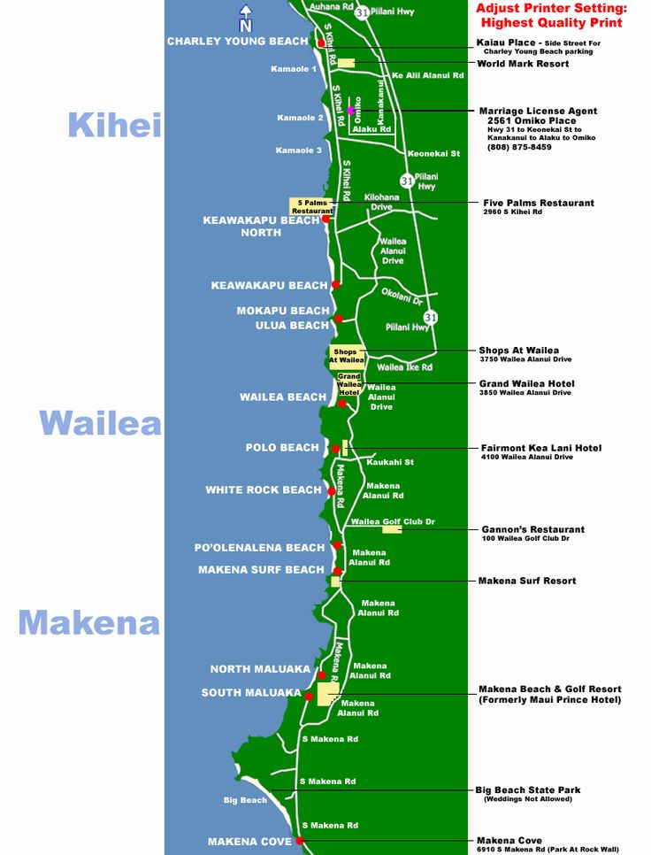 Maui Map - South Side Beaches - Makena, Kihei, Wailea - Maui Wedding Planner