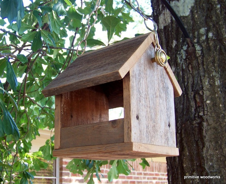 Bird Feeder Recycled Wood Natural Weathered by PrimitiveWoodworks, $20.00