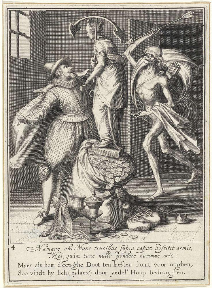 Willem Isaacsz. van Swanenburg | Man wordt door de dood gehaald, Willem Isaacsz. van Swanenburg, Maarten van Heemskerck, 1609 | De Dood komt met een pijl in zijn hand en een pijlkoker op zijn rug de kamer binnen. Links staat een man die probeert te voorkomen dat een standbeeld met een anker als symbool voor hoop van de geldzak valt. Bij de zak staan nog enkele kostbaarheden. Onder de voorstelling bevindt zich een tweeregelige, Latijnse tekst en een tweeregelig, Nederlands gedicht waarin de…