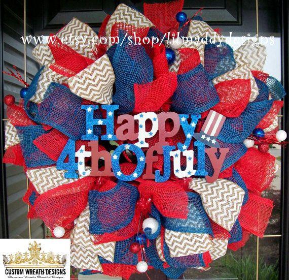 Burlap Happy Fourth of July Wreath by lilmaddydesigns on Etsy, $95.00