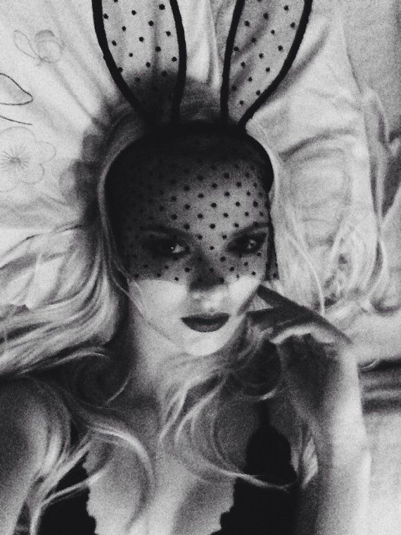 Handmade black polka dot lace mask tall bunny ears mask by AGMU