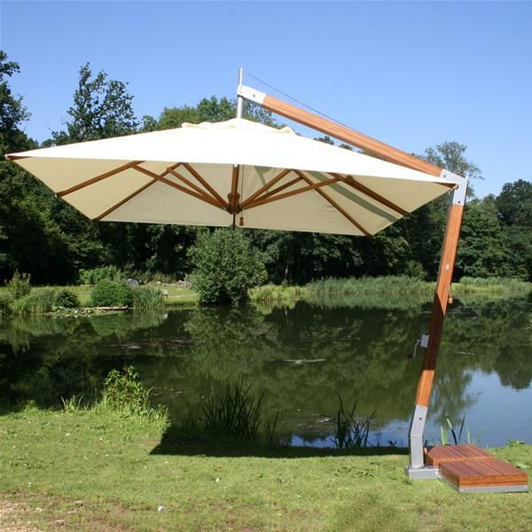Bambrella Side Wind Levante 3.4m Square Cantilever Parasol | Internet Gardener