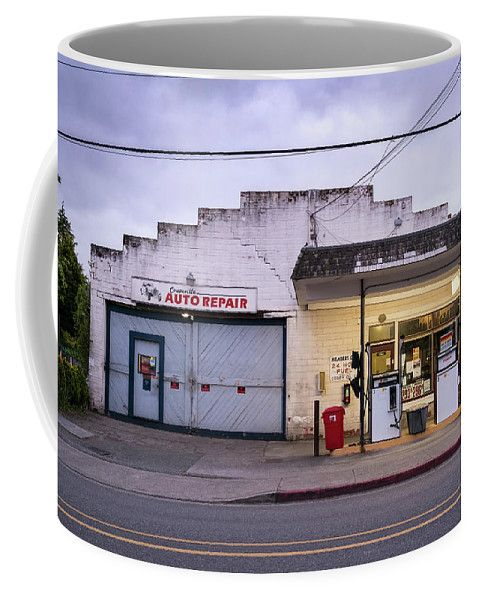 Coupeville Auto Repair At Dawn Coffee Mug by Mary Lee Dereske.   Shop maryleephoto.com for fine art prints (framed, canvas, metal, or wood), greeting cards and home decor. 30 day money back guarantee, world wide shipping. #washington #whidbey #garage #mechanic