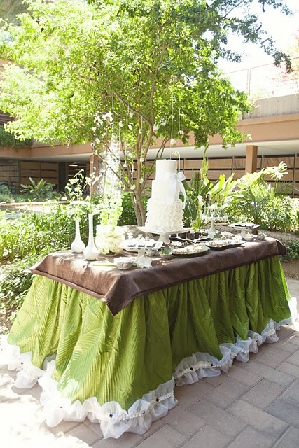 green and brown dessert table: Health Desserts, Tables Ruffles, Blushes Pink, Green And Brown, Desserts Desserts, Linens Tablecloths, Brown Desserts, Desserts Healthy, Desserts Tables