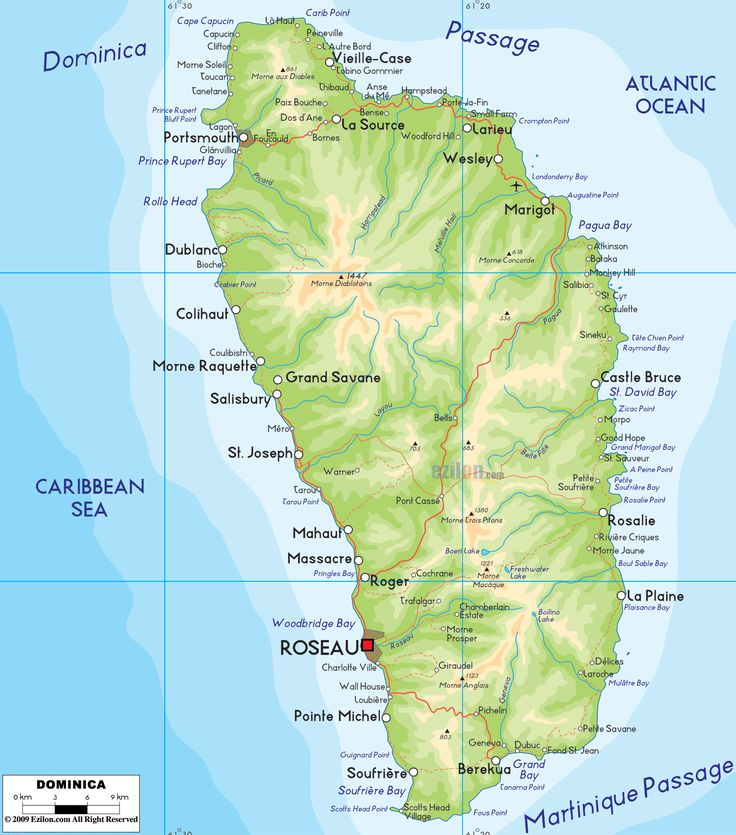 The Physical Map Of Dominica Showing Major Geographical Features - Map of dominica caribbean sea