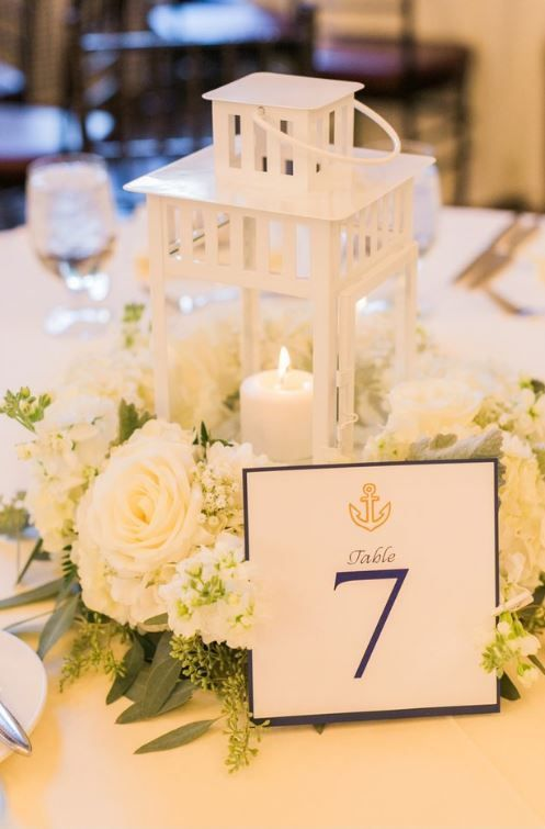 Using IKEA centerpieces! Wedding Design. Floral Centerpieces. White Florals. Lush Greens, Nautical Themed. Table Numbers.