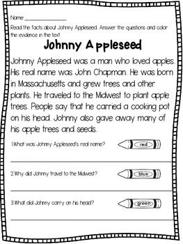 Johnny Appleseed : Johnny Appleseed - This Johnny Appleseed product contains a close reading text about the historical figure Johnny Appleseed,a cut and paste activity on a True/ False chart, and a writing prompt.The close reading text asks the students to read the passage, answer 3 comprehension questions, and color/ highlight the evidence in the text that supports their answer.Happy Teaching!Dana's Wonderland