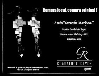 "Joyeria GR- Guadalupe Reyes:    Set ""Corazon Mariposa"" Diseño de Guadalupe Reye..."