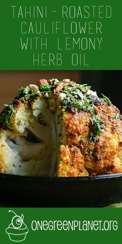 Wow, this roasted cauliflower recipe just looks stunning! Make it a centerpiece for any dinner and you're sure to get everyone excited for an amazingly spiced and coated cauliflower that looks and tastes awesome! Check out the recipe here: http://www.onegreenplanet.org/vegan-recipe/tahini-roasted-cauliflower-with-lemony-herb-oil/