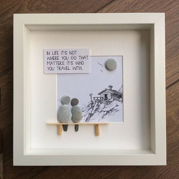 PebbleArt for friends picture travel the world gift for