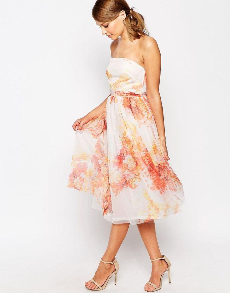 Image 4 - True Violet - Robe de bal de fin d'année mi-longue en tulle imprimé fleurs d'automne