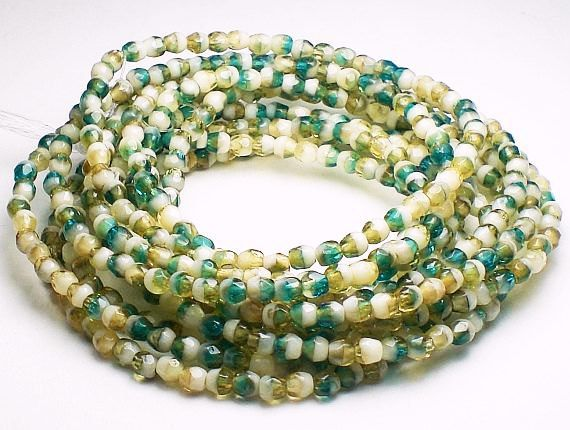 100 Blue Green Tan and Ivory White Czech Glass Fire by royalmetals
