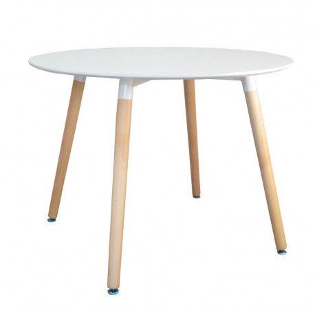 """Biały nowoczesny i elegancki stół serii """"Paris"""" o średnicy 100cm. Idealny do kuchni, pokoju, ogrodu oraz lokalu."""