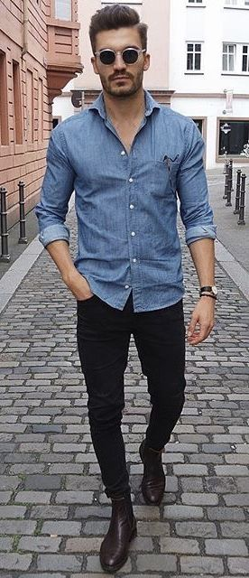 79dad5a6b15841 @justusf_hansen - with a summer business casual outfit black denim black  chelsea boots denim button