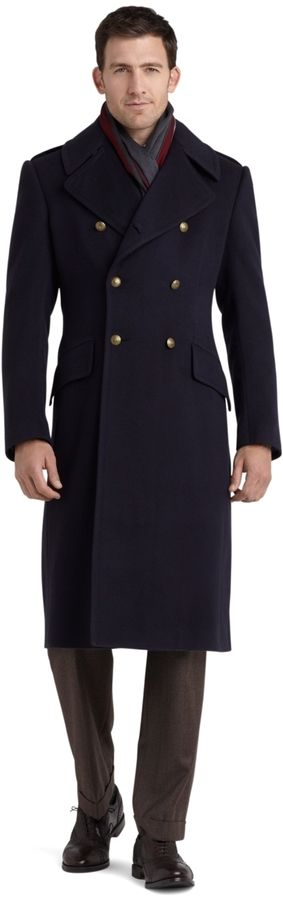 $3,298, Navy Overcoat: Brooks Brothers Golden Fleece Officers Coat. Sold by Brooks Brothers. Click for more info: https://lookastic.com/men/shop_items/3618/redirect