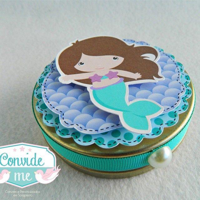 Latinha Mint to Be, um amor... ❤ #pequenasereia #convideme #scrapfesta #silhouette #littlemermaid