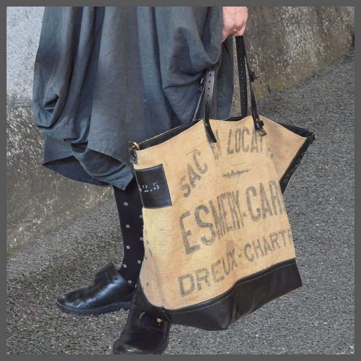Week-End Bag Leather & Burlap