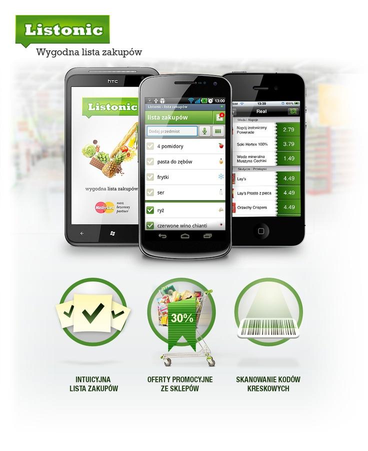 Listonic (3 smartphones + 3 main features)