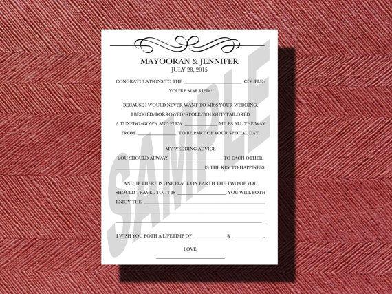 Printable Wedding Mad Libs A Fun Guest Book by WeddingsByJamie, $15.00