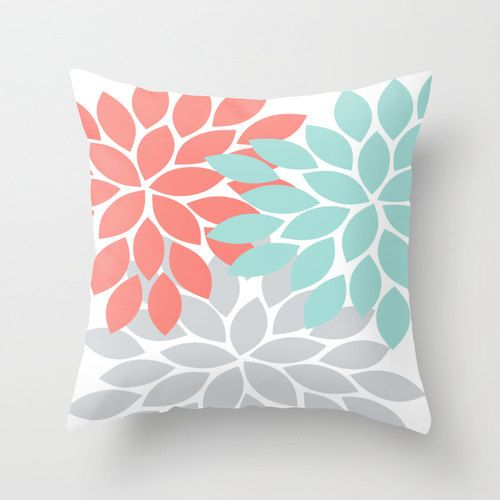 Pillow Cover Flower Burst Throw Pillow Zipper Double Sided Custom Coral Turquoise Gray Convert ANY Print