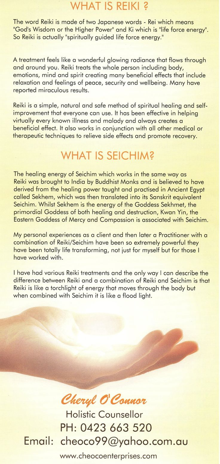 A brief overview of both Reiki and Seichim.