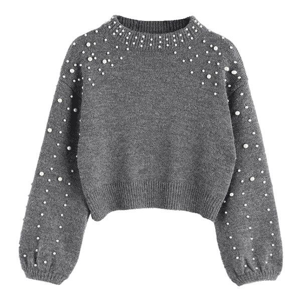 Faux Pearl Mock Neck Sweater Gray S (515 MXN) ❤ liked on Polyvore featuring tops, sweaters, zaful, grey, shirts, mock neck top, gray shirt, grey sweater, shirt sweater and gray sweater