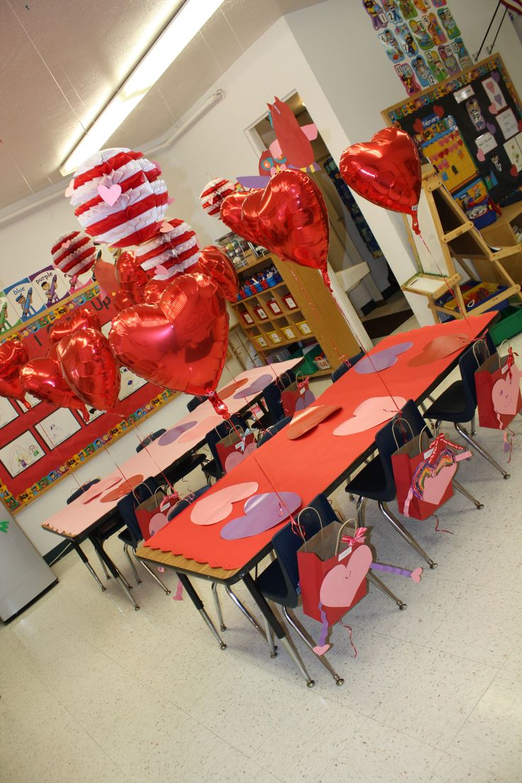Decorating for preschool Valentine's party.