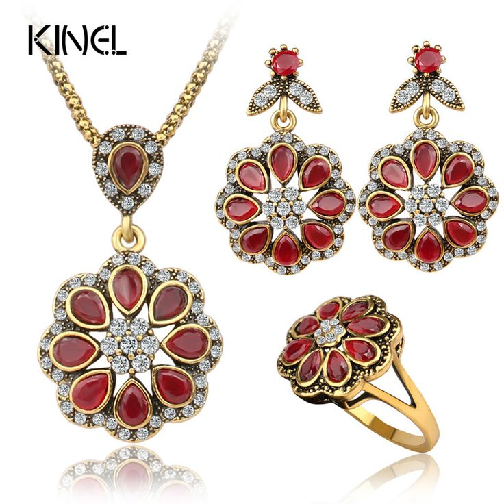 Luxury Fashion Agate Red Petal Type Nigerian Wedding African Beads Gold Plated Vintage Jewelry Sets For Women 3PCS