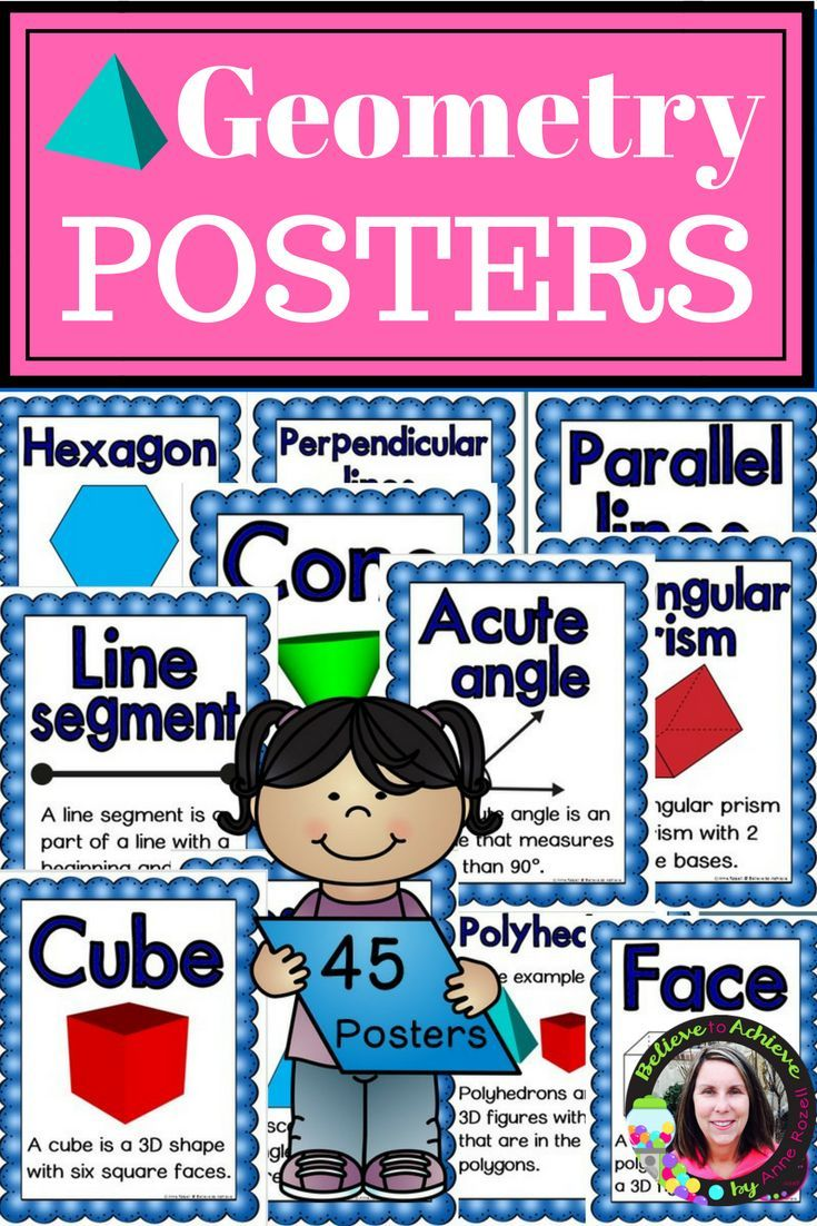 Geometry Posters- 45 posters in all!***This set is also available in theGeometry Mega Bundle!  This is anHUGE set of Geometry Postersthat you need for your classroom!Print on card stock and laminateto use for years to come! Print all or just the ones you need! This set is a wonderful addition to your lessons!Posters include word, example and definitions!