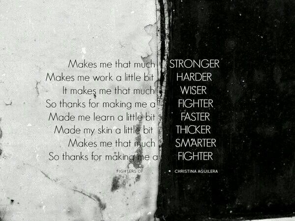 Stronger Harder Wiser Faster Thicker Smarter ... FIGHTER