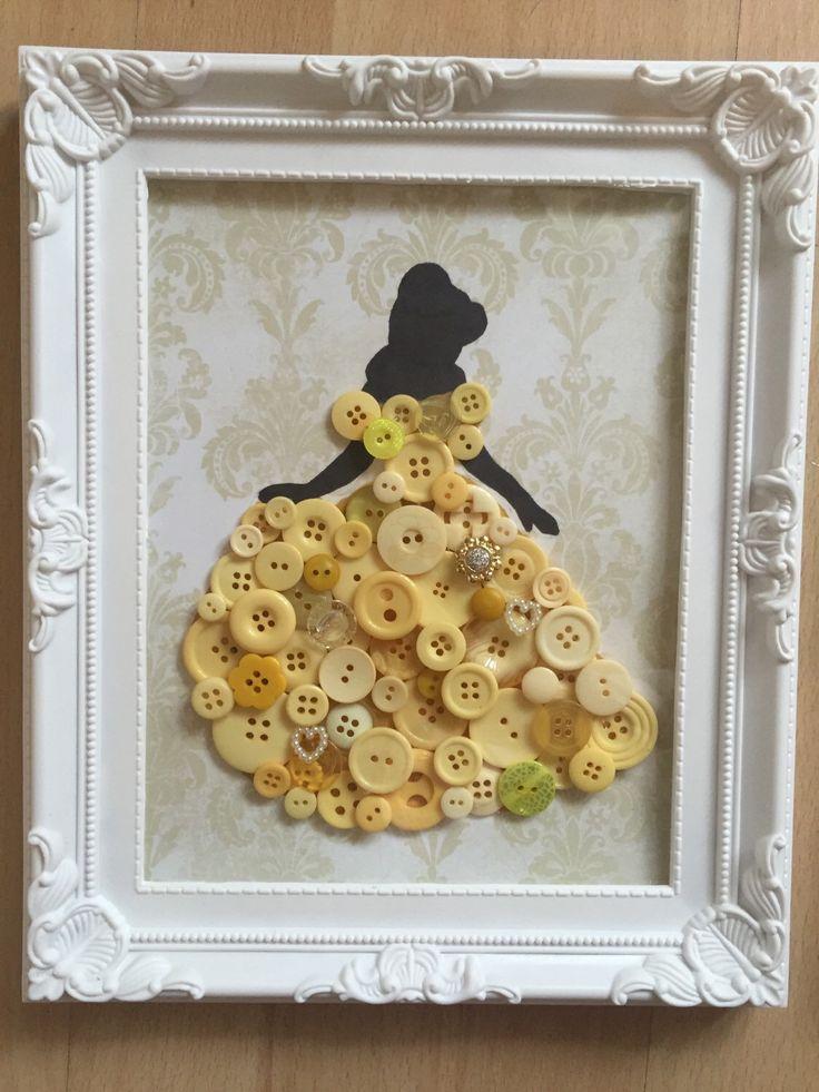 Disney belle, beauty & the beast inspired princess. Button art in shabby chic decor / frame. Nursery art. Baby shower / christmas gift. by BowsAndButtonsUK on Etsy https://www.etsy.com/uk/listing/277348190/disney-belle-beauty-the-beast-inspired