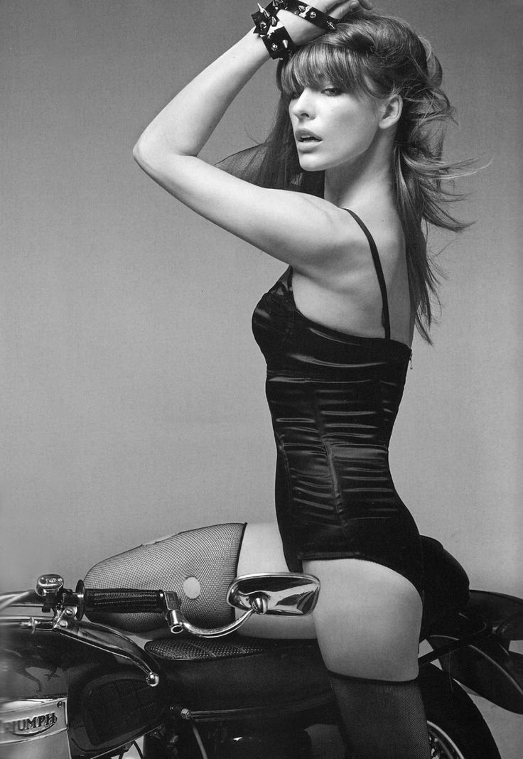babes on vintage motorcycles | Mila Jovovich Triumph Motorcycle Pin-Up