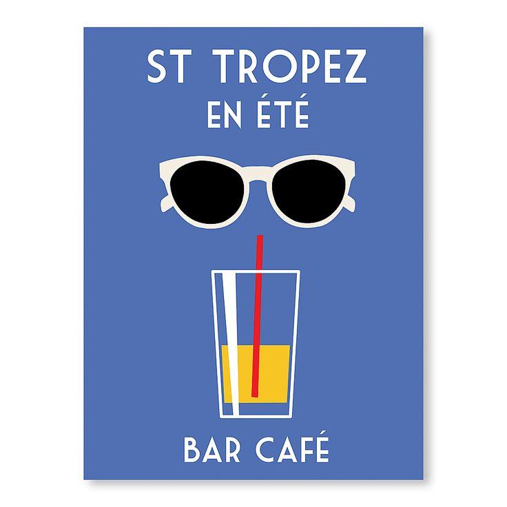 Affiche St Tropez En Eté - Alan Walsh Vintage Travel Posters FRENCH RIVIERA Côte d'Azur