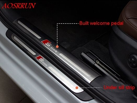High quality Built external pedal Cover threshold Stainless Steel Door sill scuff plate for audi A3 hatchback sedan car-styling