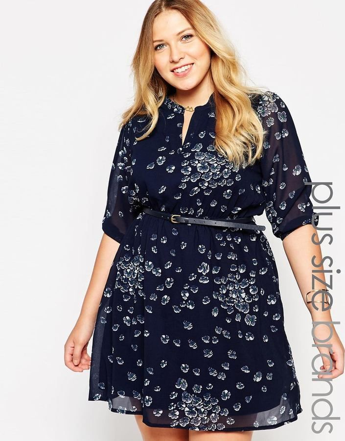 Plus Size Belted Dress In Pansey Print