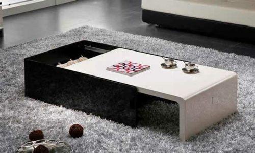 Moderne attraktive Couchtische fürs Wohnzimmer – 50 coole Bilder - trendy eigenartige kaffeetische schwarz weiß glanzvoll