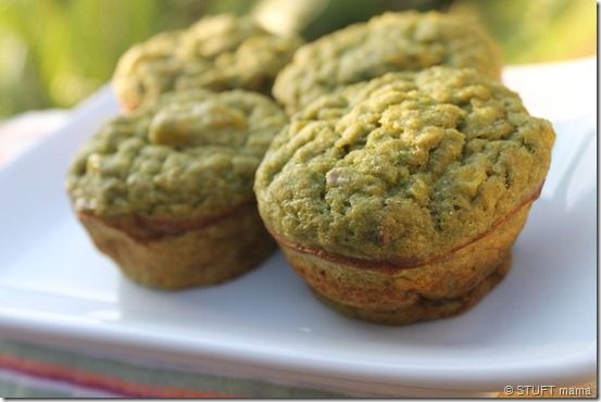 Banana spinach muffinsMultigrain Green Banana Muffins  makes 12 big toddler friendly muffins  1 cup egg substitute  2 cups spinach  4 ripe bananas, mashed  1 cup Coach's Oats multigrain pancake mix (or other pancake mix)  1/2 cup whole wheat flour  1/4 cup ground flax  1/2 cup milk of choice  1 teaspoon vanilla  cinnamon to taste (optional)