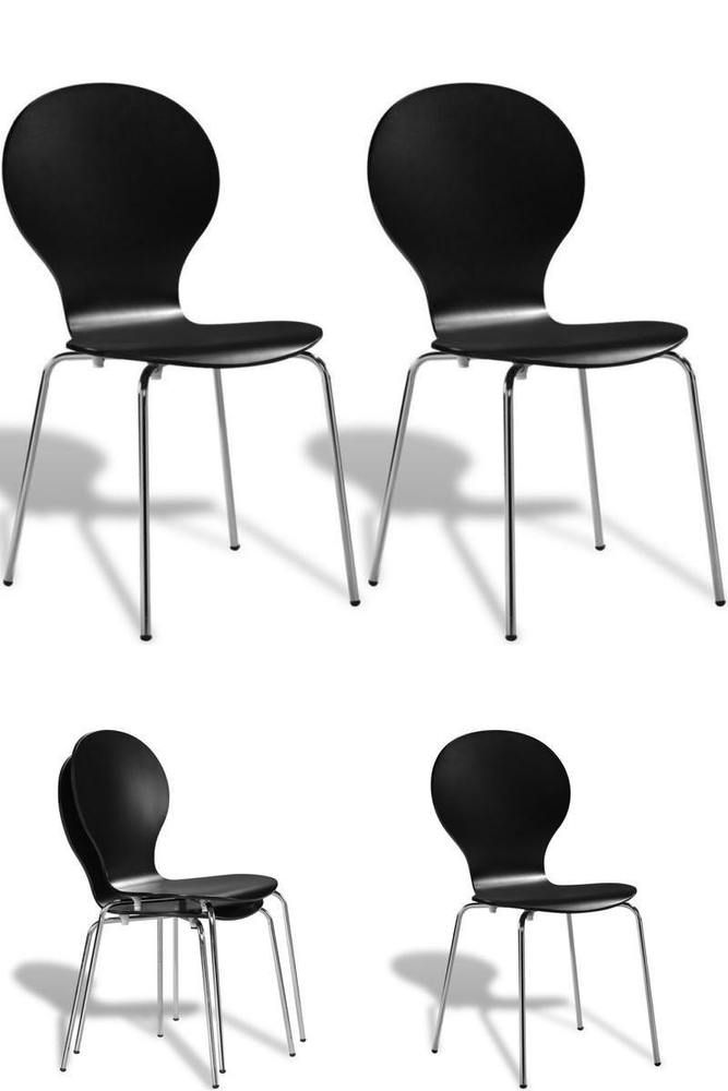 Bar Restaurant Chairs Set 2 Black Wooden Metal Home Office School Stacking Seats