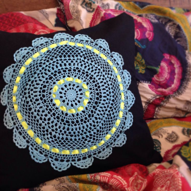 My latest creation #upcycled #doily #cushion