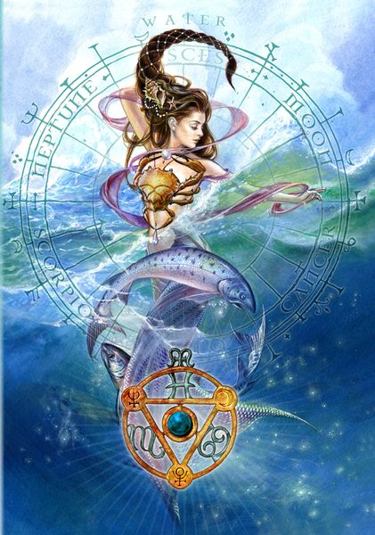 Elemental Water Talisman and Card Gift Set - Neptune Pluto Moon Planetary Sigils - Cancer Scorpio Pisces Pendant